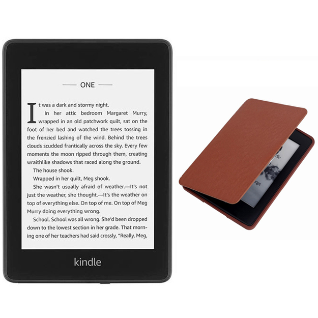 Amazon Kindle Paperwhite Waterproof Wi-Fi 8GB No Ads (10th Gen 2018) With Tan Cover Bundle