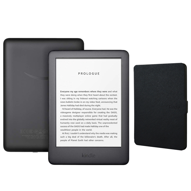 Amazon Kindle Touchscreen Wi-Fi With Built-in Front Light 10th Gen (With Ads) Black Bundle